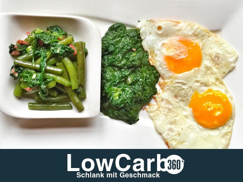 Bohnensalat Spinat und Spiegelei